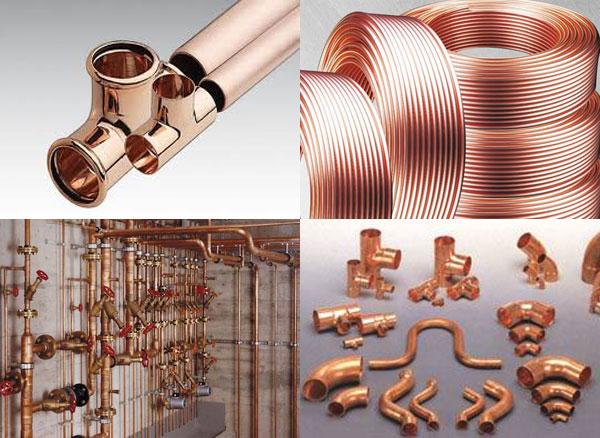 Элементы медного трубопровода