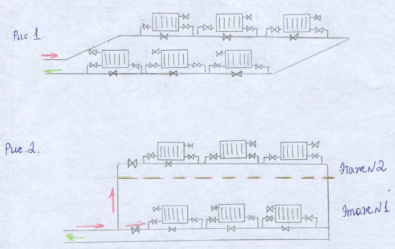 Схема однотрубного отопления частного дома фото 834
