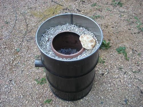 Печь на отработке из кирпича